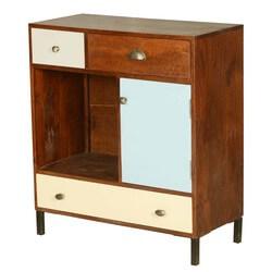 60's Retro Mango Wood Open Display Cabinet Mini Cabinet