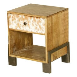 Richboro Retro Mango Wood Open Back 1 Drawer Nightstand
