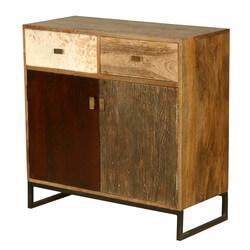 60's Retro Mango Wood Free Standing 2 Drawer Kitchen Buffet Cabinet