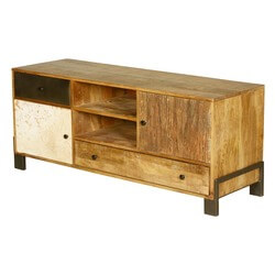60's Retro Mango Wood & Iron 6 Compartment TV Rustic Media Console