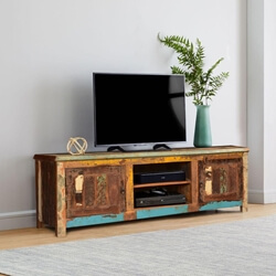 Bienville Retro Style Reclaimed Wood Media TV Stand 2 Door Cabinet
