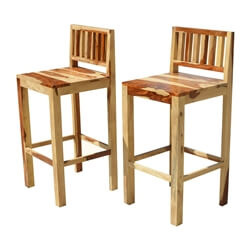 Dallas Ranch Solid Wood Tall Counter Low Back Bar Chairs (Set of 2)