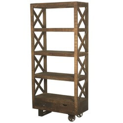 Arezzo 4 Open Shelf Industrial Solid Wood Bookcase With Drawers