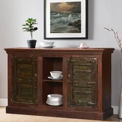 Brodeur Gothic Gates Reclaimed Wood Large Sideboard Cabinet