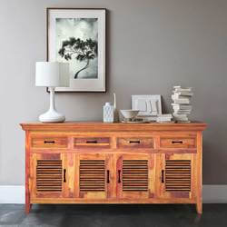 Modern Rustic Solid Wood Shutter Door 4 Drawer Large Sideboard Cabinet