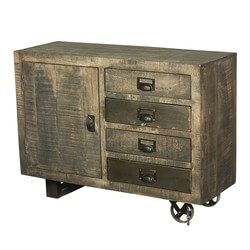 Moreland Rustic Solid Wood 4 Drawer Industrial Cart Storage Cabinet