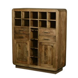 Devon Modern Rustic Solid Wood Glass Holder Wine Rack Bar Cabinet