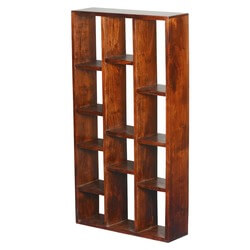 Metairie 13 Open Shelf Rustic Solid Wood Geometric Bookcase