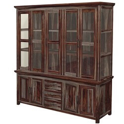 "Dallas Ranch 90"" Tall Solid Wood Glass Door Dining Sideboard Hutch"