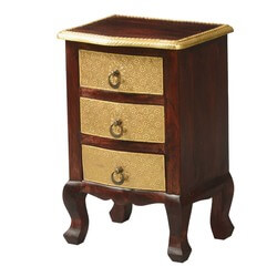 Queen Anne Mango Wood Brass Inlay 3 Drawer Nightstand