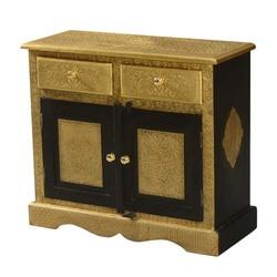 Golden Splendor Mango Wood Brass Inlay 2 Drawer Storage Cabinet