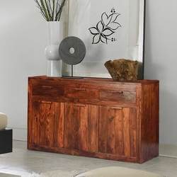 Modern Simplicity Acacia Wood 3 Drawer Large Sideboard Cabinet