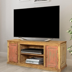 Appalachian Pink Reclaimed & Mango Wood TV Console Media Cabinet