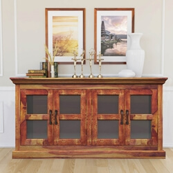 Dallas Ranch Solid Wood Glass Door Dining Rustic Buffet