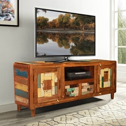 Rounded Corners Mosaic Reclaimed Wood Rustic TV Media Cabinet