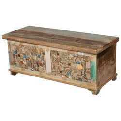 Rocky Mosaic Reclaimed Wood Standing Coffee Table Trunk