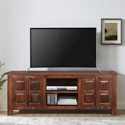 Bellerose Traditional Reclaimed Wood Open Shelf Media Console Cabinet