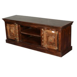 Dutch 17thC Fusion Reclaimed Wood Carved TV Console Media Cabinet