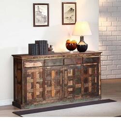 Owen Rustic Reclaimed Wood 4 Drawer Extra Long Sideboard Cabinet