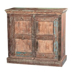 Gothic Sunrise Rustic Reclaimed Wood Freestanding Accent Cabinet