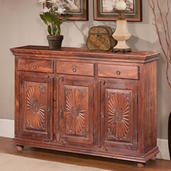Traditional Sunburst Reclaimed Wood 3 Drawer Rustic Sideboard Cabinet