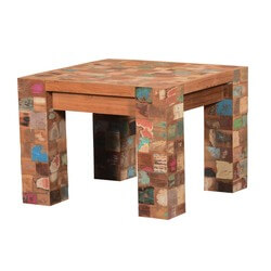 Speckled Mosaic Reclaimed Wood Modern Rustic Square End Table