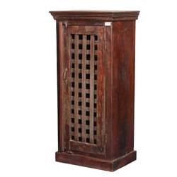Benoit Reclaimed Wood Lattice Door Freestanding Rustic Storage Cabinet