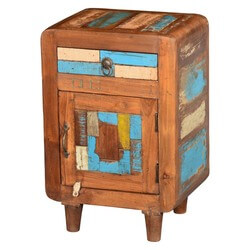 Azalia Rustic Reclaimed Wood 1 Drawer Bedside Nightstand