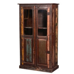 Appalachian Rustic Reclaimed Wood Display Cabinet Armoire With Shelves