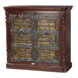 Newberry Reclaimed Wood Handcrafted Door Storage Cabinet