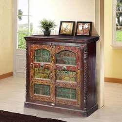 American Gothic Mango & Reclaimed Wood Handcrafted Storage Cabinet