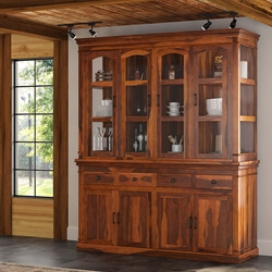 Clermont Rustic Solid Wood Casement Glass Door Sideboard With Hutch