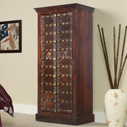 Gothic Knight Solid Mango & Reclaimed Wood Armoire With Shelves