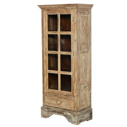 Rustic Single Glass Door Solid Wood Armoire With Shelves And Drawer