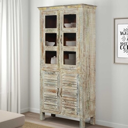 Winter White Solid Mango Wood Rustic Armoire Cabinet With Glass Door