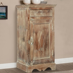 Alston Mango Wood 1 Drawer Single Door Storage Cabinet