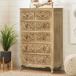 Queen Anne Lace Front Mango Wood 6 Drawer Dresser
