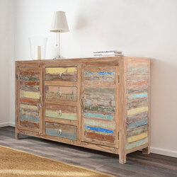 Santa Fe Rustic Reclaimed Wood 4 Drawer Large Sideboard