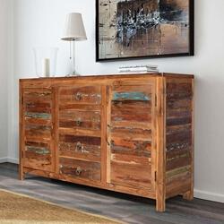 Santa Fe Distressed Rustic Reclaimed Wood 3 Drawer Large Sideboard
