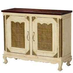 Golden Gates Antique White Mango Wood Brass Inlay Buffet Cabinet