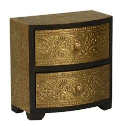 Victorian Gold Mango Wood & Brass Inlay 2 Drawer Jewelry Box