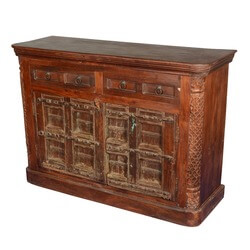 Gothic Classic Reclaimed Wood Hand Carved Double Drawer Rustic Buffet