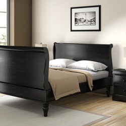 Midnight Empire Solid Wood Platform Sleigh Bed Frame