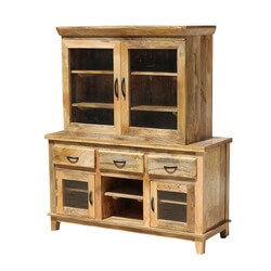 Aflon Rustic Mango Wood Buffet With Hutch
