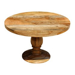 "Farmhouse Rustic Solid Mango Wood 48"" Round Pedestal Dining Table"