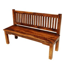 "Santa Cruz Mission Solid Wood Rustic 57"" Bench w Back"