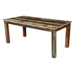 French Quarter Rustic Reclaimed Wood Striped Dining Table