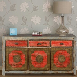 Dragon Red & Flower Medallions Reclaimed Wood Large Sideboard Cabinet