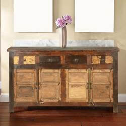 New England Rustic Reclaimed Wood 4 Drawer Large Sideboard
