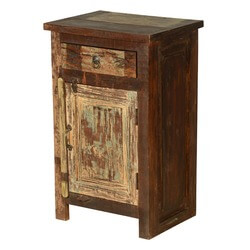 Cleveland Distressed Reclaimed Wood 1 Drawer Nightstand Cabinet